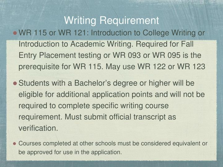 Writing Requirement