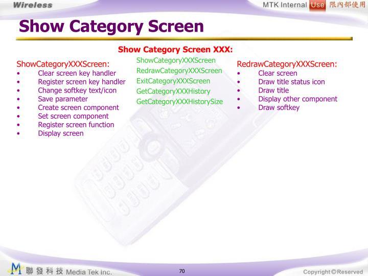 Show Category Screen