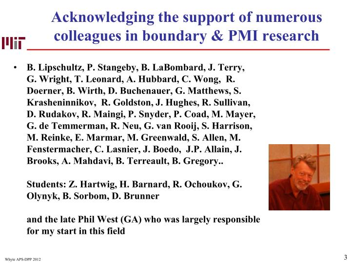 Acknowledging the support of numerous colleagues in boundary pmi research