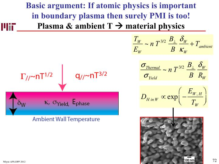 Basic argument: If atomic physics is important in boundary plasma then surely PMI is too!