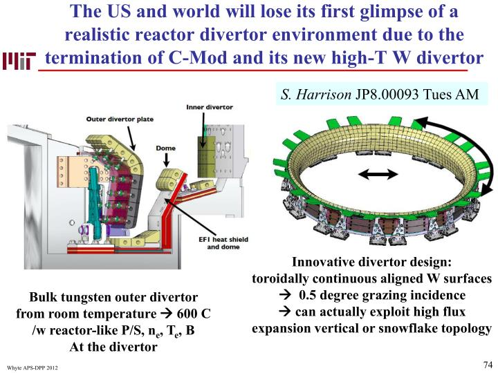 The US and world will lose its first glimpse of a realistic reactor divertor environment due to the