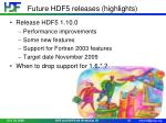 future hdf5 releases highlights