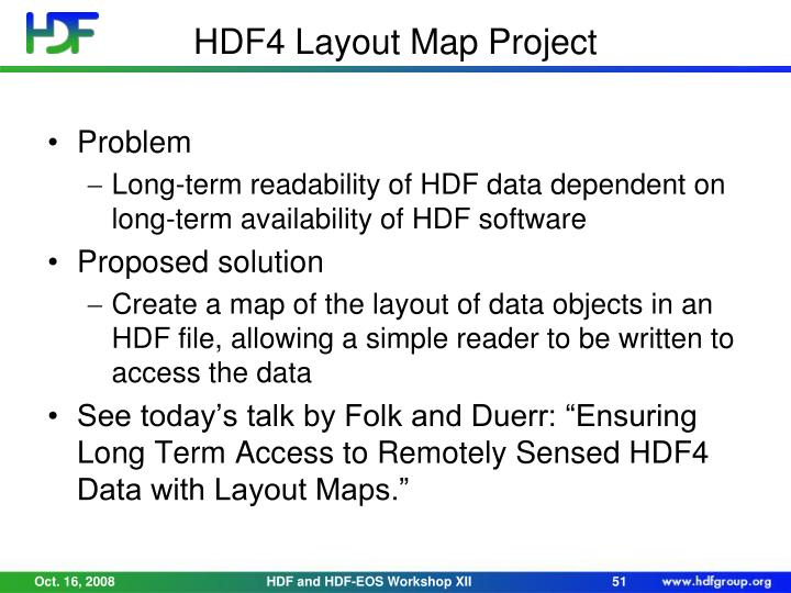 HDF4 Layout Map Project
