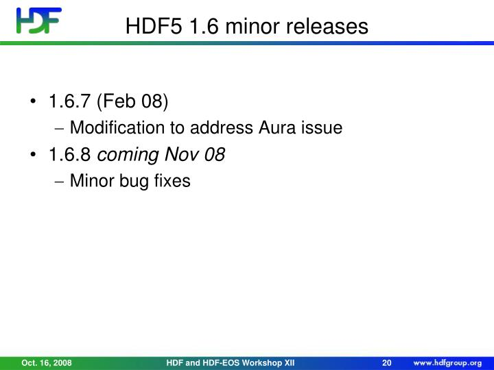 HDF5 1.6 minor releases