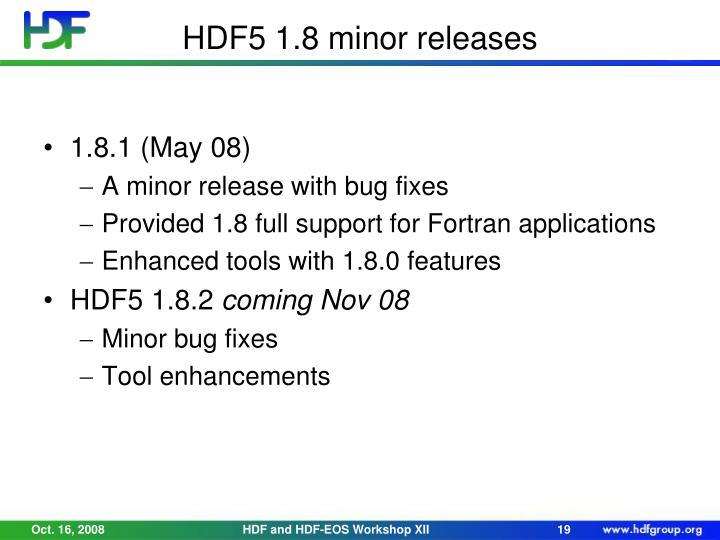 HDF5 1.8 minor releases