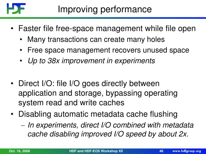 Faster file free-space management while file open