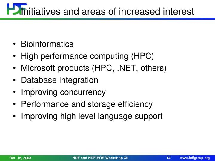 Initiatives and areas of increased interest