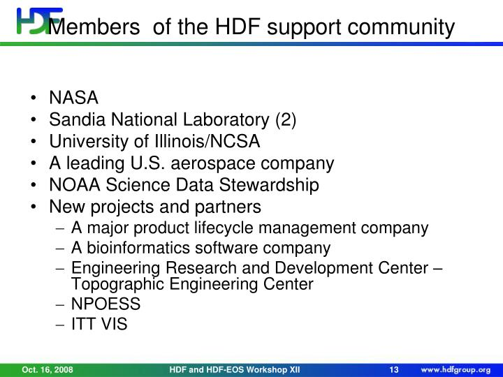 Members  of the HDF support community