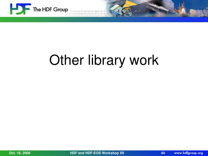 Other library work