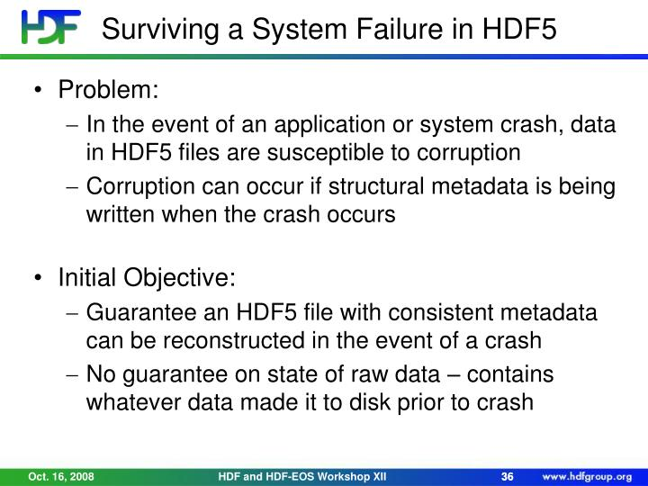 Surviving a System Failure in HDF5