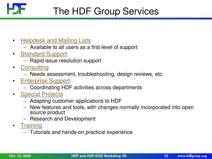 The HDF Group Services