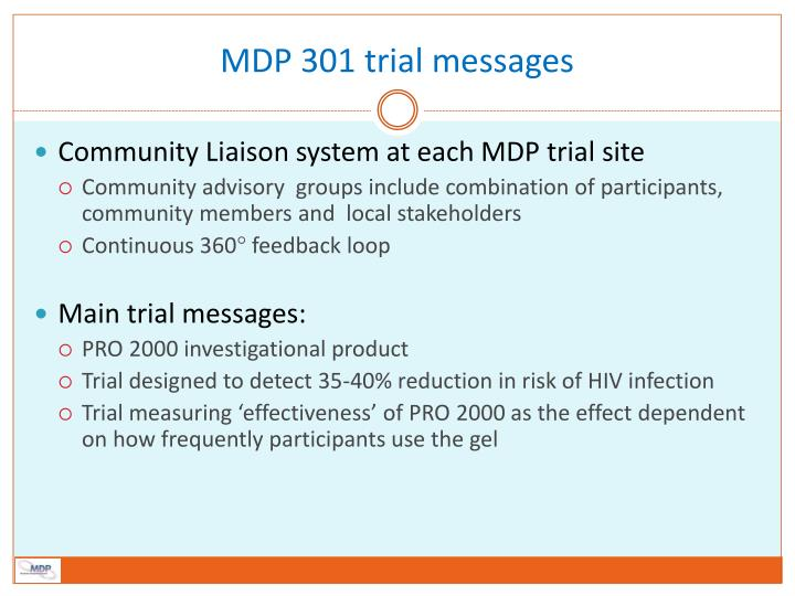 MDP 301 trial messages