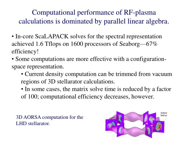 Computational performance of RF-plasma calculations is dominated by parallel linear algebra.