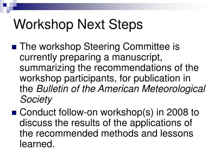 Workshop Next Steps