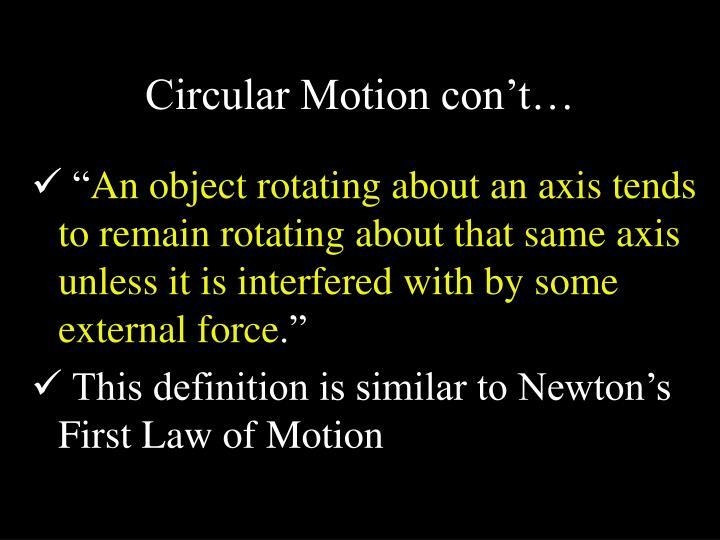 Circular Motion con't…