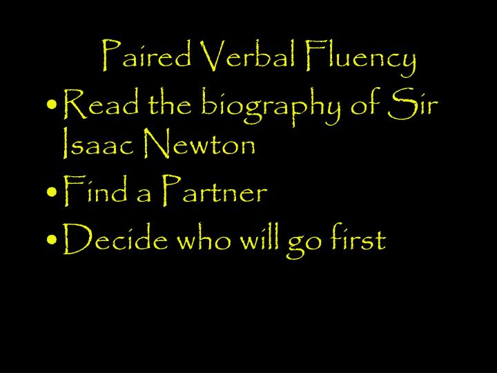 Paired Verbal Fluency