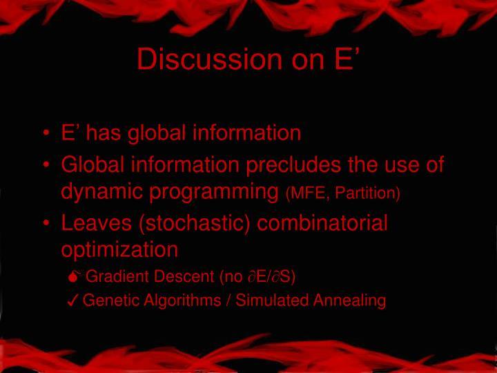 Discussion on E'