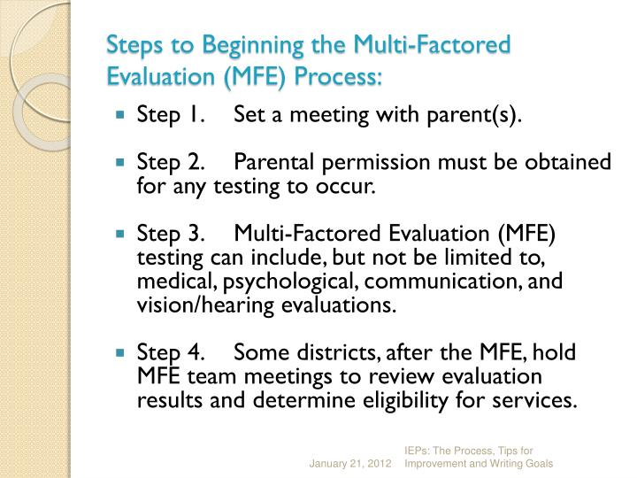 Steps to Beginning the Multi-Factored Evaluation (MFE) Process: