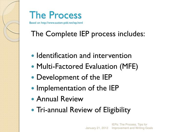 The process based on http www autism pdd net iep html