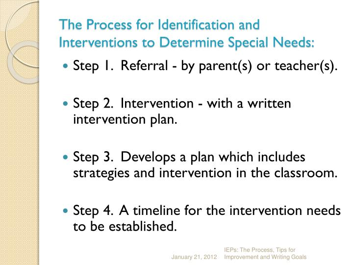The process for identification and interventions to determine special needs