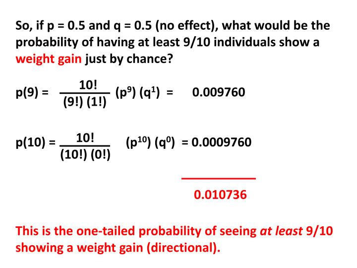 So, if p = 0.5 and q = 0.5 (no effect), what would be the probability of having at least 9/10 individuals show a