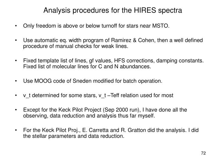 Analysis procedures for the HIRES spectra