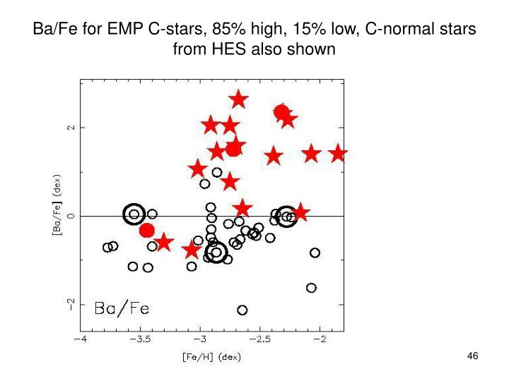 Ba/Fe for EMP C-stars, 85% high, 15% low, C-normal stars from HES also shown