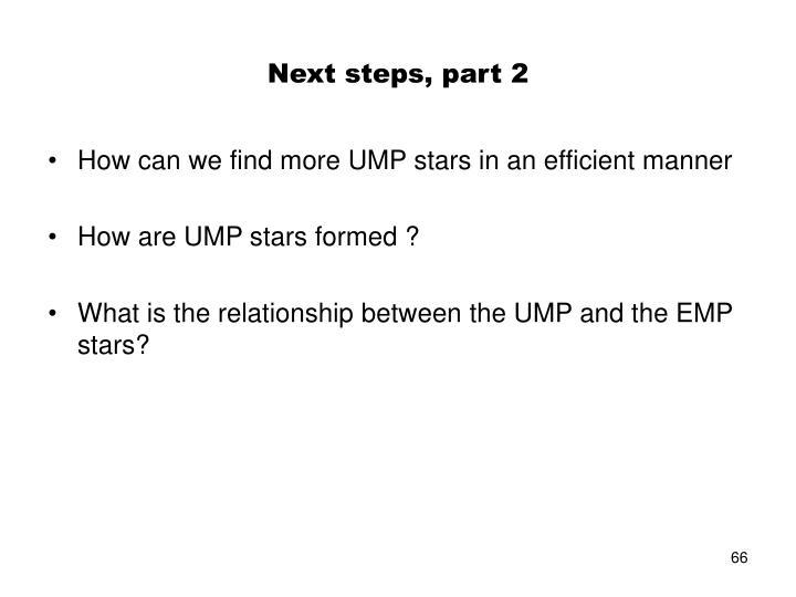 Next steps, part 2
