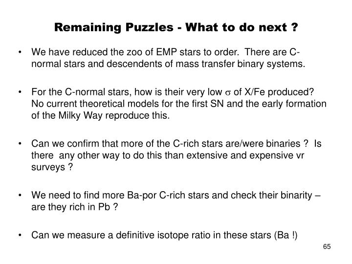 Remaining Puzzles - What to do next ?
