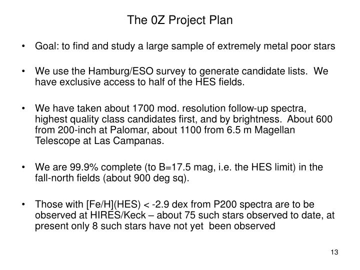 The 0Z Project Plan
