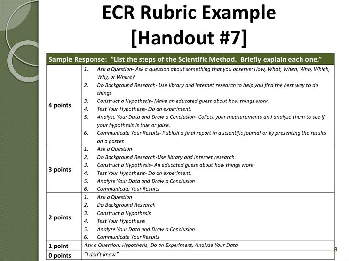 ECR Rubric Example