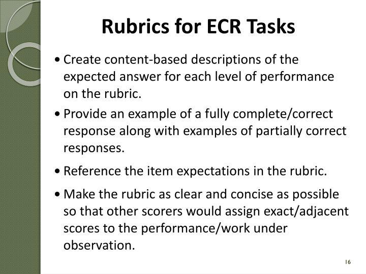 Rubrics for ECR Tasks