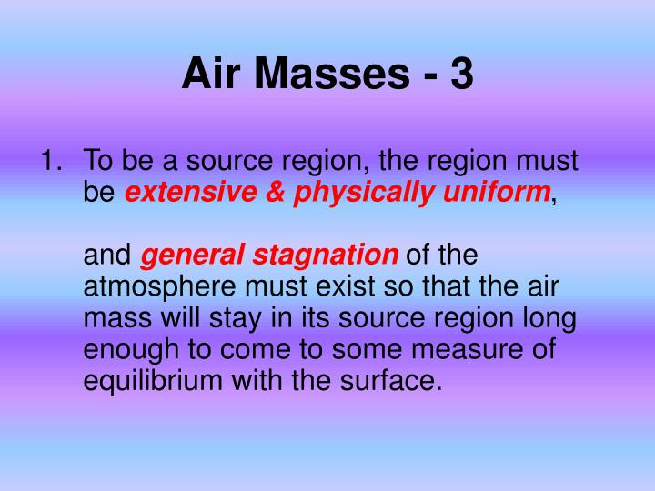 Air Masses - 3