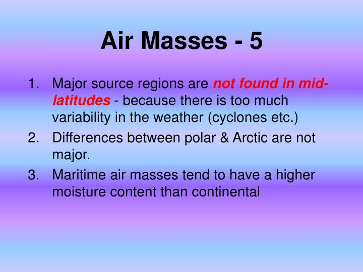 Air Masses - 5