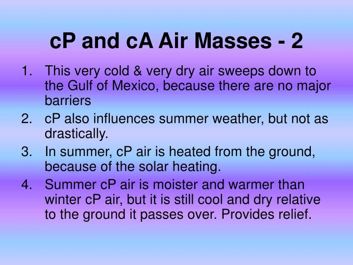 cP and cA Air Masses - 2