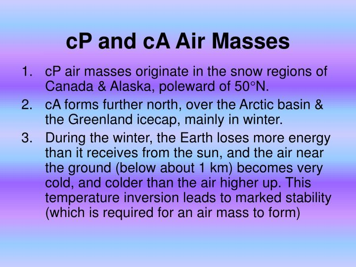 cP and cA Air Masses