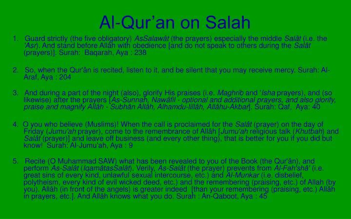 Al-Qur'an on Salah