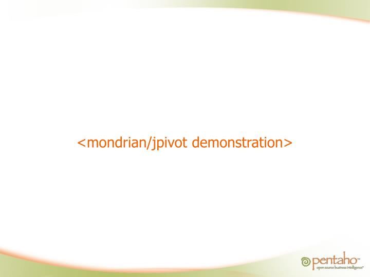 <mondrian/jpivot demonstration>