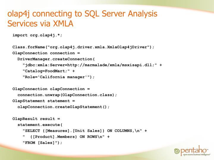 olap4j connecting to SQL Server Analysis Services via XMLA
