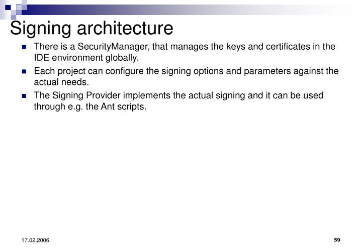 Signing architecture