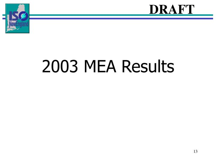 2003 MEA Results