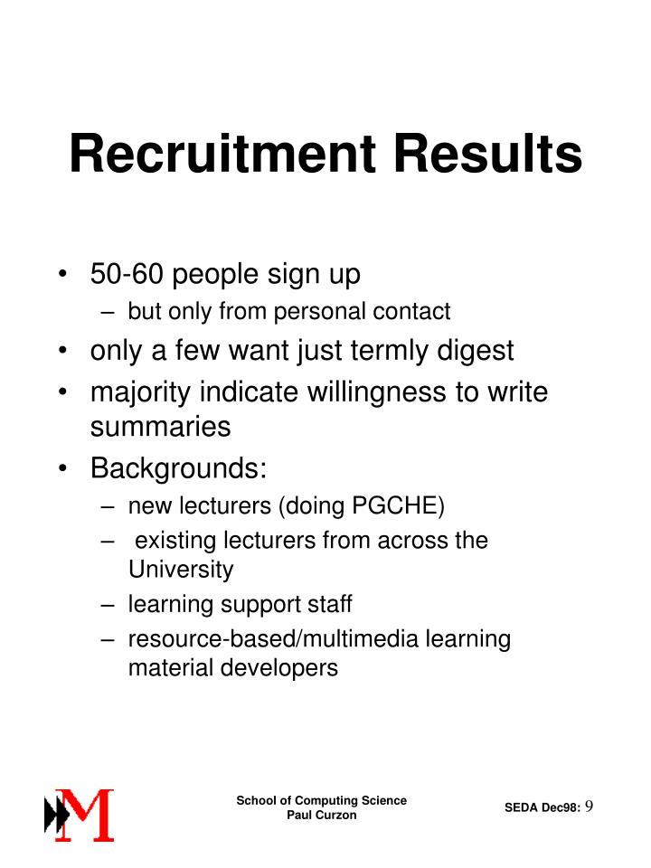 Recruitment Results