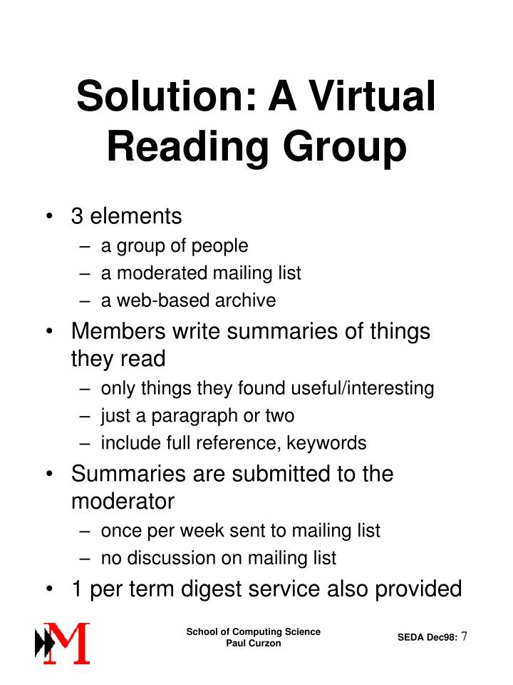 Solution: A Virtual Reading Group