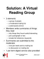 solution a virtual reading group