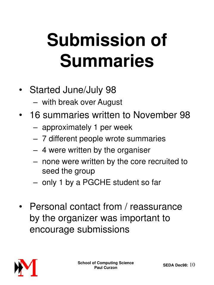 Submission of Summaries