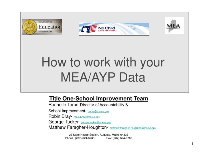 How to work with your mea ayp data