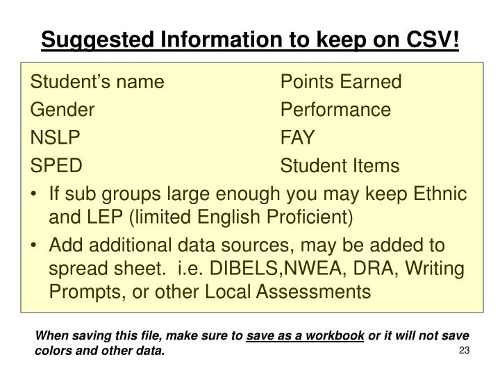 Suggested Information to keep on CSV!
