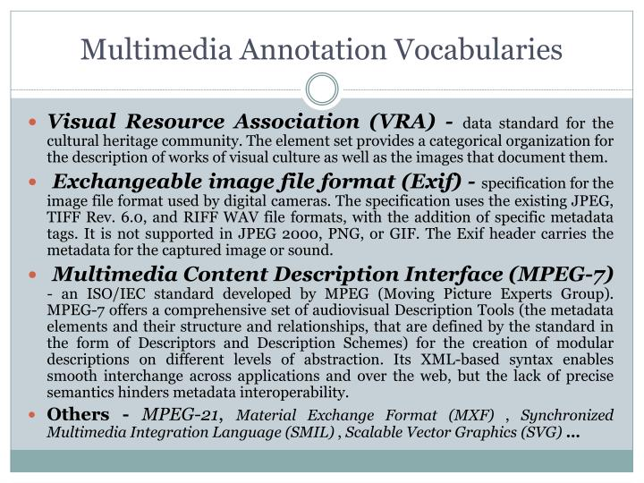 Multimedia Annotation Vocabularies