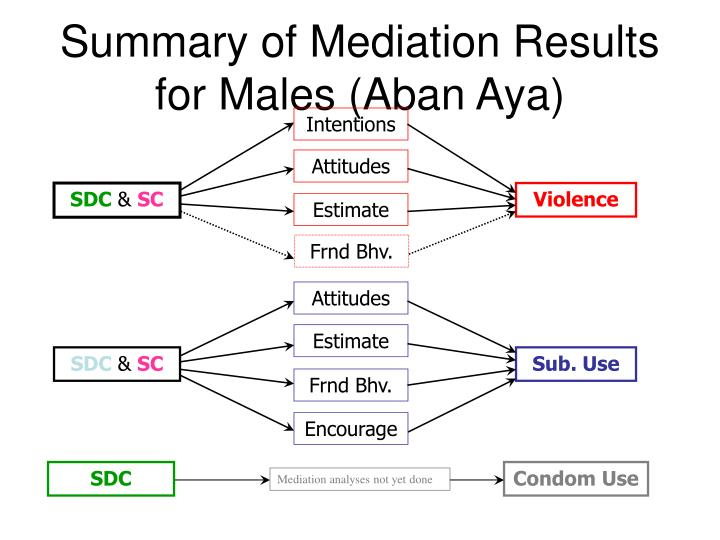 Summary of Mediation Results for Males (Aban Aya)