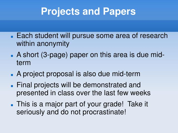 Projects and Papers